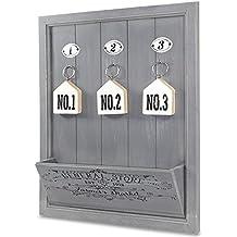 Bordo di ganci da parete in stile shabby chic grigio chiavi nuovo grande