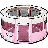 TecTake chiot Enclos, animaux Enclos pliable avec fond amovible pour petits animaux comme chiens, chats | Lapin Rose