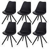 Mendler 6X Esszimmerstuhl Malmö T501, Retro Design ~ schwarz, Sitzfläche Kunstleder schwarz, dunkle Beine