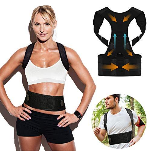 SURMTO Haltungskorrektur Rückenstütze für Damen und Herren - Geradehalter zur Haltungskorrektur Rückentrainer Schulter Rückenstütze, Schultergurt Nacken Schulterschmerzen gerader Rücken 10 Magneten