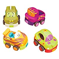 B toys - Wheeee-ls - Soft Pull-Back Funny Vehicles - Baby Toy Play Set of 4 Vehicles