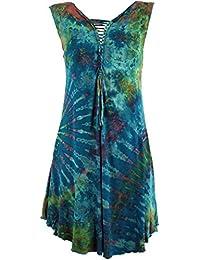 Guru-Shop Batik Minikleid, Boho Minikleid Zum Schnüren, Damen, Blau,  Synthetisch, Size 38, Kurze Kleider… 2fa7cc6b76