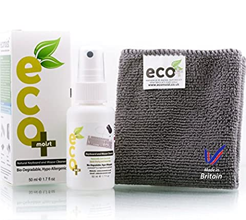 Ecomoist Natural Keyboard and Mouse cleaner. 50Ml comes with High Quality Microfiber Towel. Best for Keyboards, Mouse, Pads, joysticks, game consoles etc. Kills 99.99% of all germs. Green Product. Made in UK.