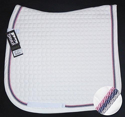 ESKADRON Cotton Schabracke weiß, 3fach Kordel silber,blue,rose, Form:Dressur