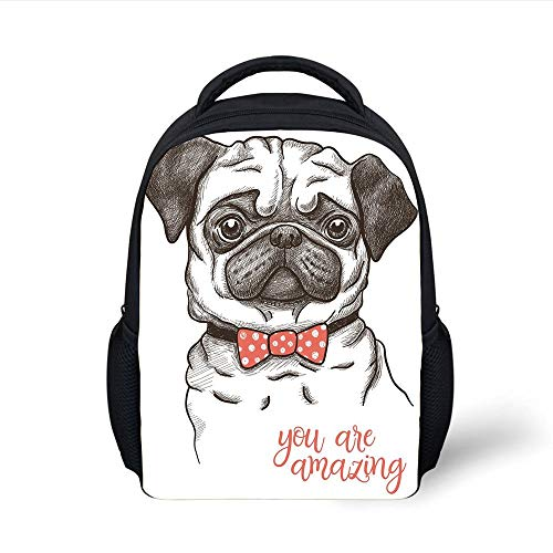 Kids School Backpack Pug,Portrait Dog Cartoon Style Bow Tie on a Pug Pet Fun Comedic Image Fashionable Animal,Black Red Plain Bookbag Travel Daypack