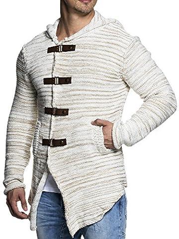 Tazzio Styler Longue veste en maille épaisse avec capuche 15451 pour homme - beige - S
