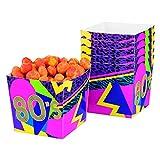 NET TOYS 6 Snackschalen 80er Jahre Party Popcorn Becher 80's Mottoparty 40 cl Pappschalen Achtziger Knabberboxen Eighties
