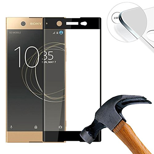 2 X Pack (vollständige Abdeckung) Panzerglasfolie Schutzfolie für Sony Xperia XA1 Plus 5.5 Zoll Ultra Hart Bildschirmschutz Tempered Glass Folie Screen Protector (Schwarz)