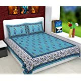 Serene Décor Jaipuri Cotton Rajasthani King Size Double Bedsheet With 2 Pillow Covers (AE0160, White & Sky Blue)