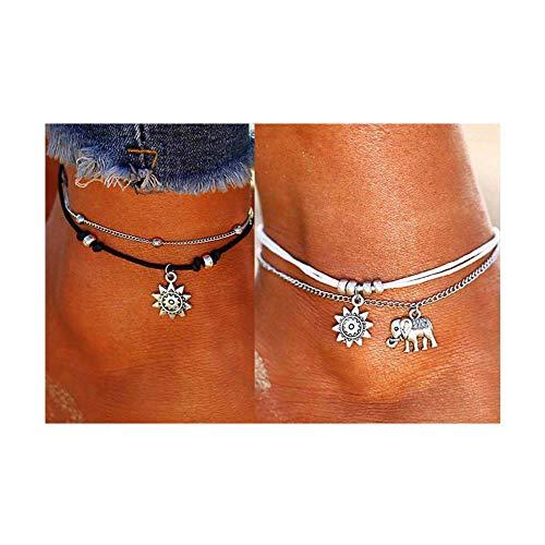 235b0f662947 1. Lucbuy 2 UNIDS Multi-Layer Charm Foot Chain Boho Pulsera Tobillera en  Capas