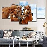 Mddrr Leinwand Hd Drucke Gemälde Für Wohnzimmer Wandkunst 5 Stücke Tier Pferd Bilder Sky Poster Dekorative Rahmen