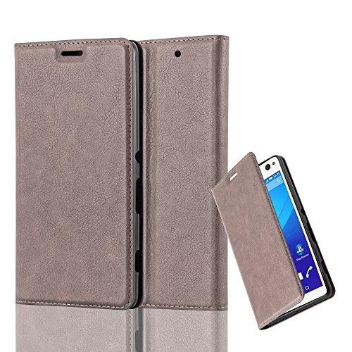 Cadorabo Hülle für Sony Xperia C4 - Hülle in Kaffee BRAUN – Handyhülle mit Magnetverschluss, Standfunktion und Kartenfach - Case Cover Schutzhülle Etui Tasche Book Klapp Style
