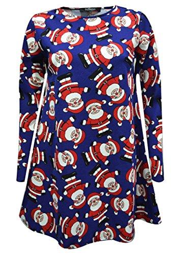 Femme Dame Longues Manches Manchot Bonnet Père Noël Bonhomme De Neige Imprimé Noël Robe Évasée Plus Haut De Taille 8-26 Bleu père noël