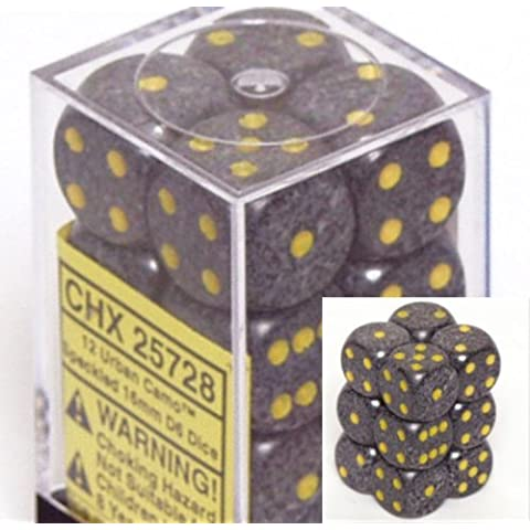 Chessex Dice d6 Sets: Urban Camo Speckled - 16mm Six Sided Die (12) Block of Dice by Chessex