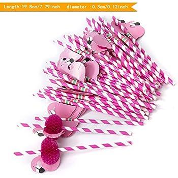 ZeWoo 50 PCS 3D Flamingo Trinkhalme Strohhalme Halme Cocktail Hochzeit Party Barzubehör in 2 Farben, lebensmittelecht(Papierstrohhalme) (Rose)
