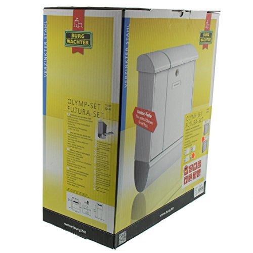 BURG-WÄCHTER, Briefkasten-Set mit integriertem Zeitungsfach, A4 Einwurf-Format, Verzinkter Stahl, Futura 926 Si, Silber - 7
