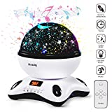 Projection lamp with LED Timer, Remote Control Star Night light lamp with Built-in Music Player, Baby Nursery Night Light, Star light projector, Decorative Light, Mood Light for Kids Adults Bedroom Living Room(Black & White) - Newest Generation