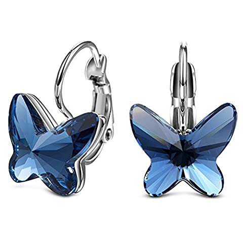 Modische Stylische Ohrringe Blue Butterfly SWAROVSKI ELEMENTS Echt Silber 925