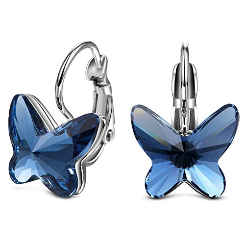 ELEGANCE PARISIENNE Modische Damen-Ohrringe Blue Butterfly SWAROVSKI ELEMENTS Flieder Schmuck Set Muttertag Blau (Ring Silver Tiffany)