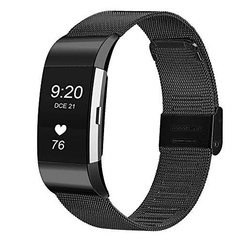 SYOSIN für Fitbit Charge 2 Armband, Edelstahl Armband mit Verstellbarer Schnalle Elegance Accessoires Bänder für Fitbit Charge 2 Fitness Tracker