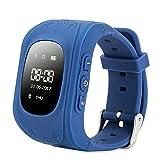 FREESOO GPS intelligente Uhr Kinder LED, Kinder Positionieren Telefonieren Alarm Werker SOS für Hilfe Fern Reden Schritte Zählen, Blau