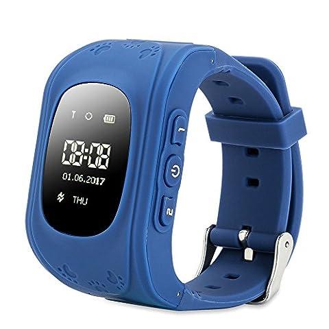 FREESOO GPS intelligente Uhr Kinder LED, Kinder Positionieren Telefonieren Alarm Werker SOS für Hilfe Fern Reden Schritte Zählen, (Gps Tracker Für Kinder)