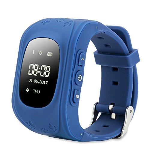 Reloj para Niños,FREESOO Reloj Infantil Pulsera Inteligente Reloj GPS localizador led pantalla Smartwatch Compatible con Android Smartphones (GPS, LBS, SOS Llamadas, Tarjeta SIM, para Android e IOS)