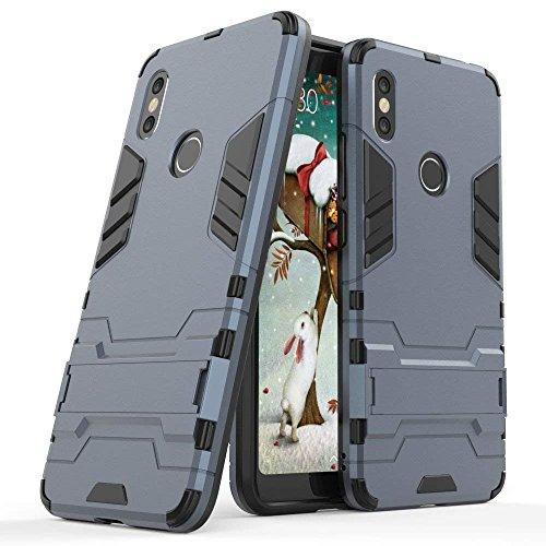 MaiJin Hülle für Xiaomi Redmi S2 (5,99 Zoll) 2 in 1 Hybrid Dual Layer Shell Armor Schutzhülle mit Standfunktion Case (Blau Schwarz)