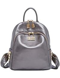 81dcadb7fd Boyatu Genuine Leather Backpack Purse for Women Fashion Rucksack Mini  Daypack(Silver)