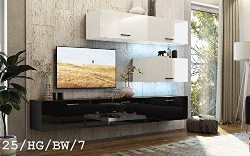 HomeDirectLTD FUTURE 25 Wohnwand Anbauwand TV-Schrank Möbel Wohnzimmer Wohnzimmerschrank Hochglanz Weiß Schwarz LED RGB Beleuchtung (25/HG/BW/7, LED blau)