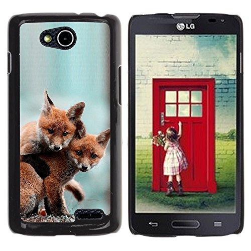 DREAMCASE Hart Handy SchutzHülle Hülle Schale Case Cover Etui für LG OPTIMUS L90 D415 - Cute Baby Fox Friends
