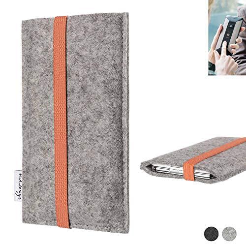 flat.design Handy Hülle Coimbra für Planet Computers Cosmo Communicator - Schutz Case Tasche Filz Made in Germany hellgrau orange