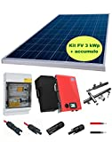 KIT IMPIANTO FOTOVOLTAICO 3 KW COMPLETO + BATTERIA D'ACCUMULO E INVERTER SMA SMART ENERGY 3600-7 + ACCESSORI - Tetto piano o a terra