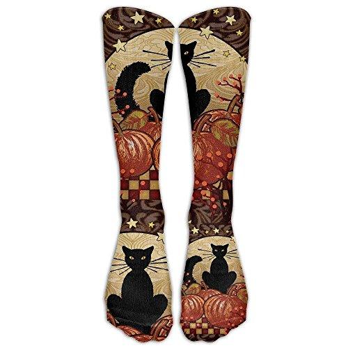 CVDGSAD Moonlight Cat - Dekorativer schwarzer Kürbis Halloween Fall Spooky USA Kniestrümpfe