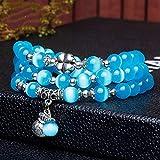 Bracelet En Pierre,La Pierre Naturelle Bracelet Maille Multicouche Bleu Pendentif...