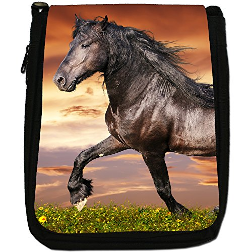 Nero Forte Bellezza Cavallo Stallone Medium Nero Borsa In Tela, taglia M Black Friesian Horse Trotting