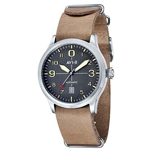 Avi de 8Unisex Reloj de pulsera analógico automático piel Flyboy AV de 4021–07