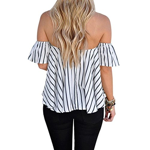 LAEMILIA Femmes T-shirts Manches Courtes Epaule Nue Chemise Blouse Rayure Casual Slim Sexy Bandeau Hauts Tops Blanc