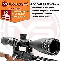 In Your Sights Sus MONUMENTOS 4.5-18x44 Alcance del Rifle Inc MONTAJES con Iluminado Retículo y Ajustable Objetivo - 20mm Weaver Mounts