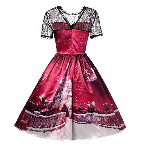 Selou Damen Abendkleider Frauen Prinzessin Sleeveless Einfarbig O-Neck Spitze Hepburn Vintage Swing Hohe Taille Falten Kleid Fit Und Flare Kleid Clubwear Quartz Prom Kostüm Kleid