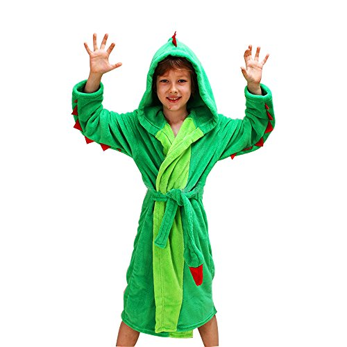 Mit Kostüm Flanell - Mystery&Melody Kinder Einhorn Bademantel Flanell Mit Kapuze Süss Schlafanzug Cosplay Kostüme Tiere Ankleiden Unisex (XS, Drachen)
