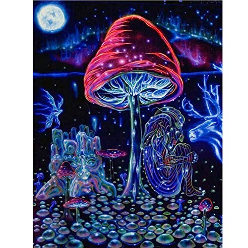 Rowentauk DIY Diamond Painting Full/Partial Dirll Rhinestone Pictures of Crystals Diamond Kits Arts, Magic Mushrooms Crafts & Sewing Cross Stitch for Christmas and Halloween Home Wall Decor