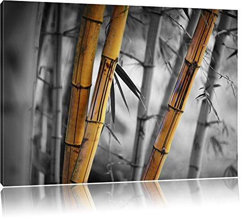 alter rustikaler Bambus schwarz/weiß Format: 120x80 auf Leinwand, XXL riesige Bilder fertig gerahmt mit Keilrahmen, Kunstdruck auf Wandbild mit Rahmen, günstiger als Gemälde oder Ölbild, kein Poster oder Plakat - Insel Bambus-rahmen
