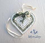 Idea regalo Natale/Compleanno / Anniversario originale: Cuore Verde 15x15 cm Kit mosaico fai da te con supporto in legno e tessere in marmo