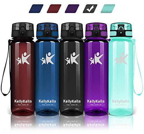 KollyKolla Trinkflasche - BPA-frei Auslaufsicher Sport Wasserflasche, 800ml Tritan Sportflasche Kohlensäure Geeignet Kunststoff mit Filter für Kinder, Schule, Baby, Fahrrad, Gym, Glossy Schwarz