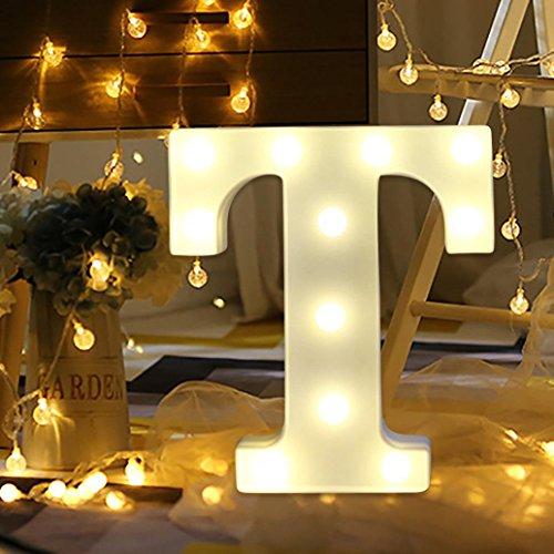 Ouneed Alphabet LED Brief Lichter leuchten weiße Kunststoff Buchstaben stehen hängen A-Z Hochzeit home party Dekorative (T)