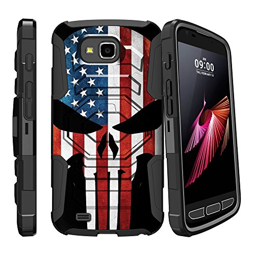 LG X Calibur Holster Case| X Venture Case| LG V9 Clip Case [Armor Reloaded] Heavy Duty Schutzhülle mit Ständer + Swivel Holster Clip von miniturtle, American Flag Skull Heavy-duty Swivel Holster