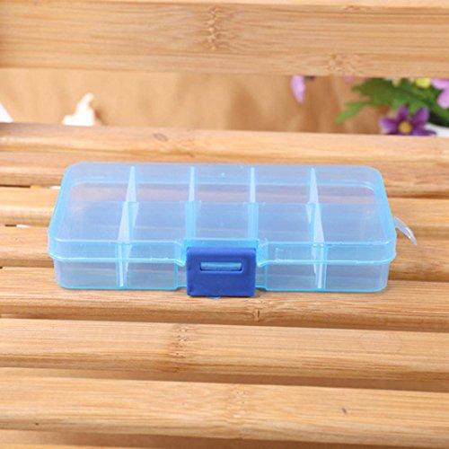 Masrin 10und verstellbar, Schmuck-Perlen von Tabletten Nail Art Tipps, Aufbewahrungsbox mit Speicher Schublade Typ Box Taschen mit Schublade, Kiste blau