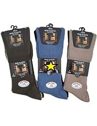 3 paires de Neuf Homme Gros Pied Chausettes taille 11 pour 14 (100% Coton, Non élastiques)