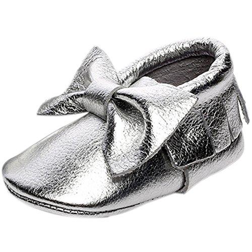 Fire Frog  Baby Fringe Shoes, Baby Mädchen Lauflernschuhe Silber